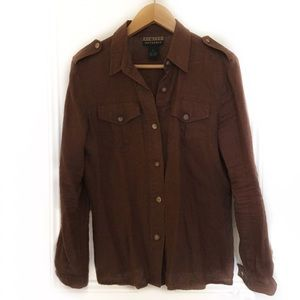 Linen Safari Shirt - Faux Wood Buttons, Epaulettes